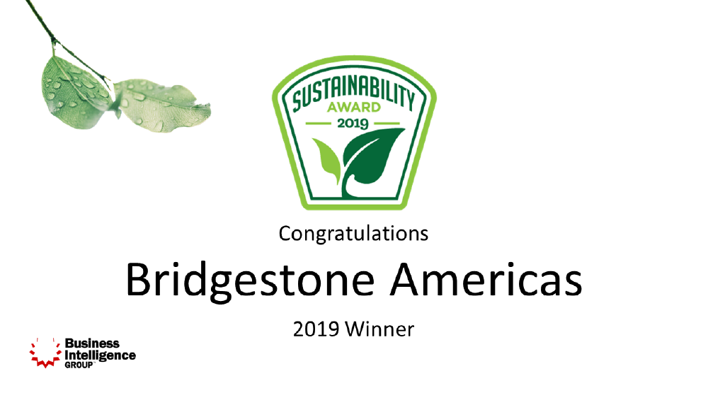 bridgestone Americas 2019 winner of sustainability award