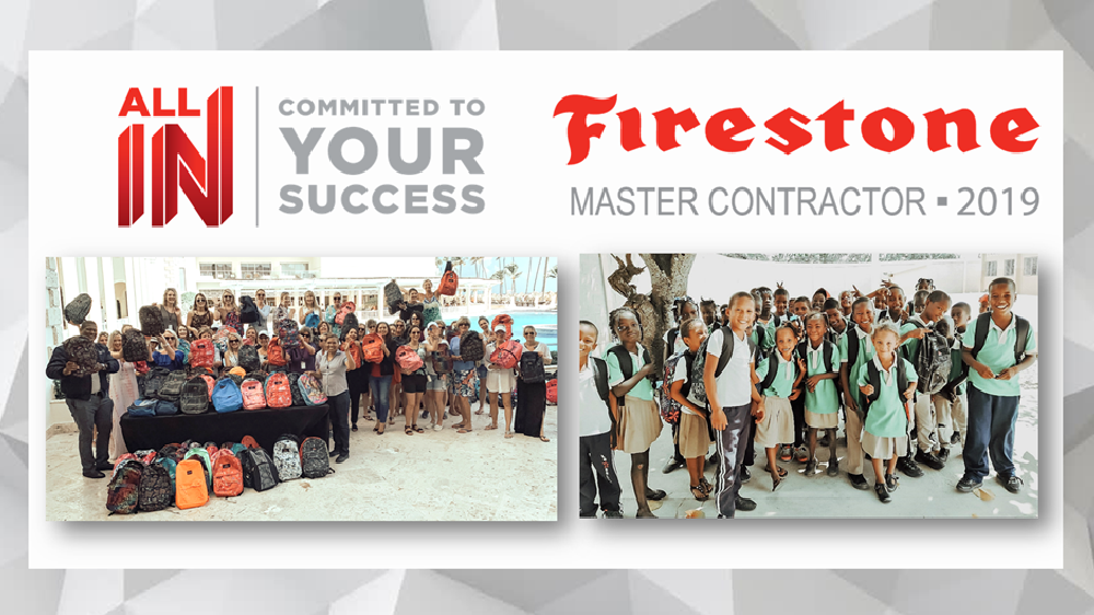 Firestone Building Products stuff backpacks for students in the Dominican