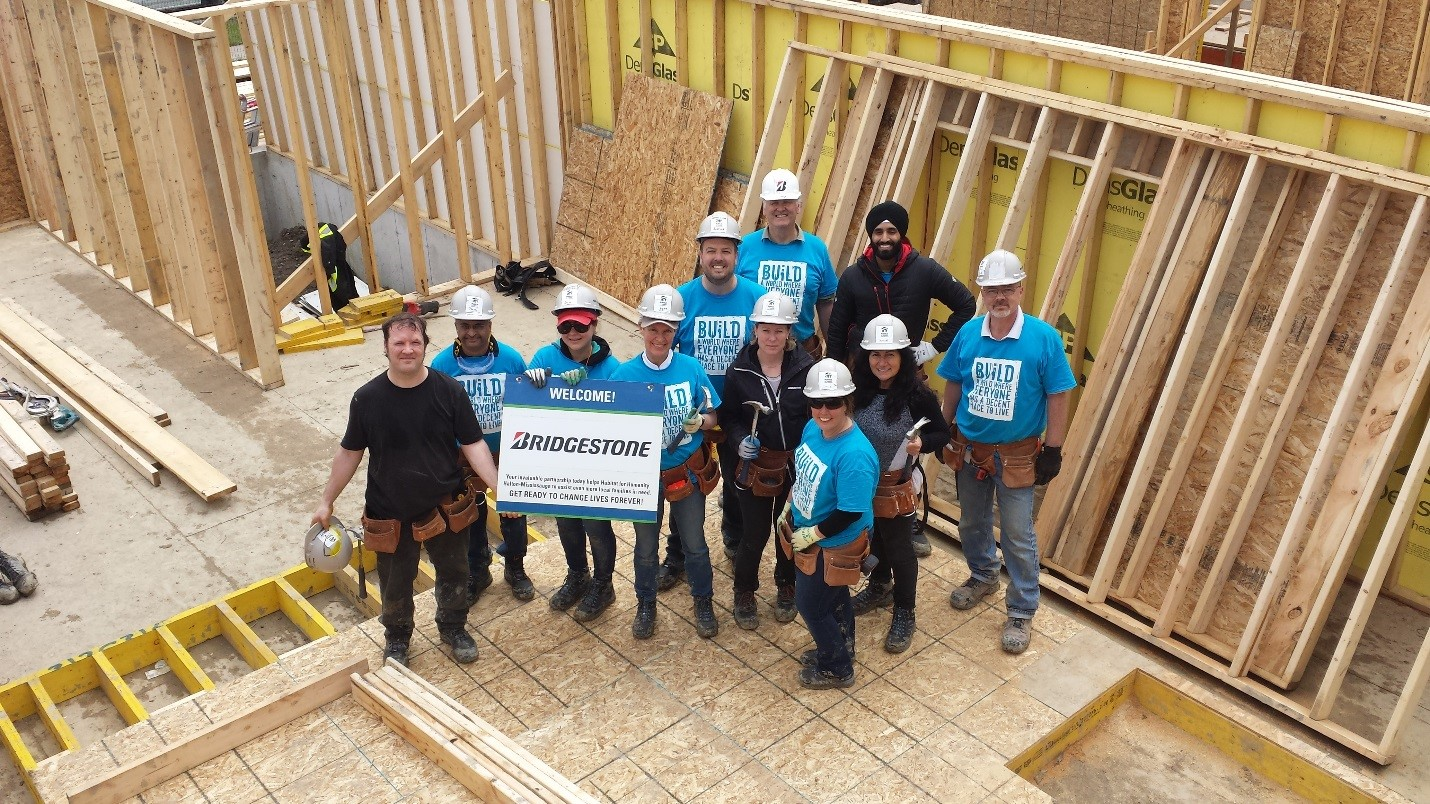 Bridgestone Americas teammates in Canada volunteering with habitat for humanity