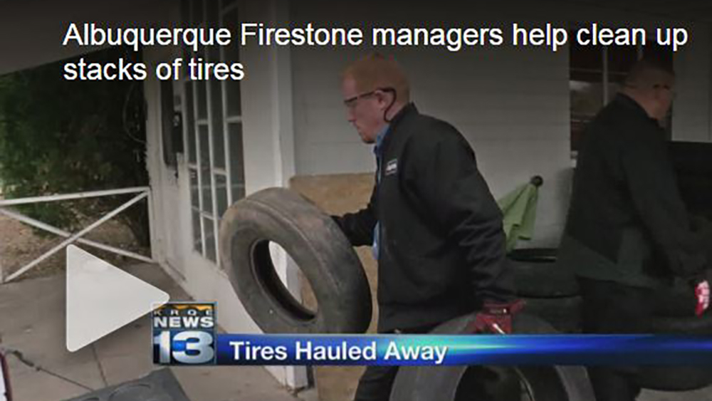 Firestone Complete Auto Care teammates recycle 200 tires in Albuquerque