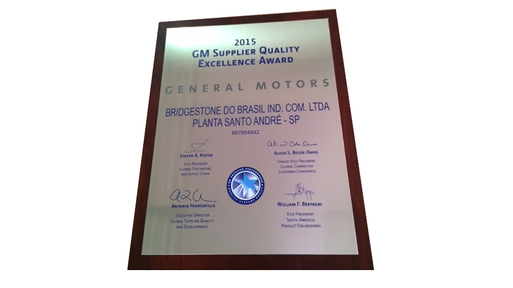 Bridgestone Brazil receives Supplier Quality Excellence Award