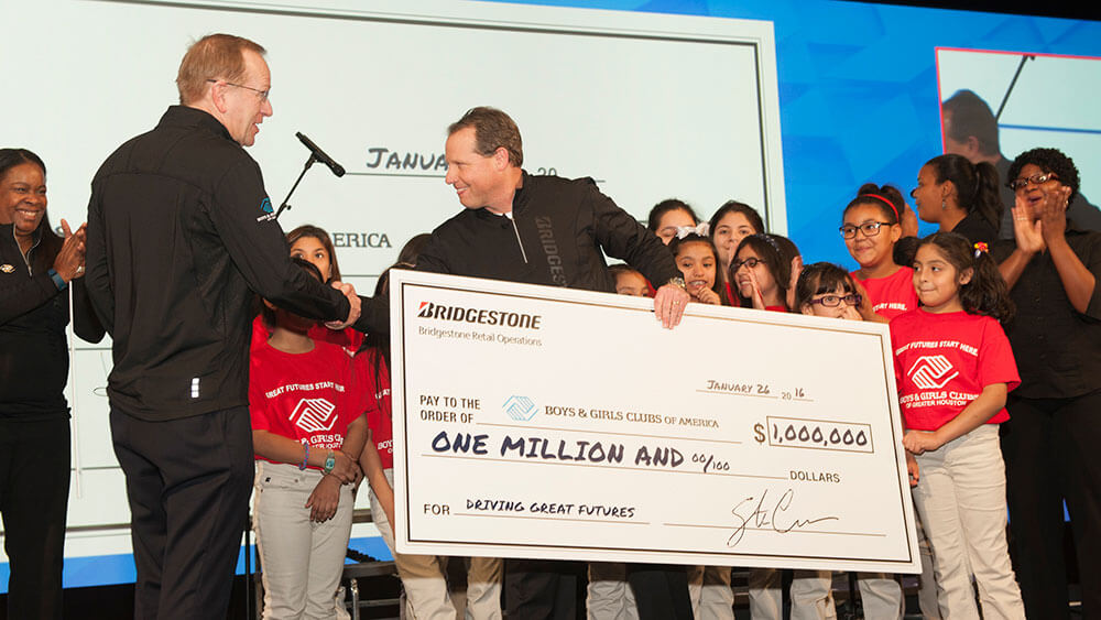 BSRO President, Stu Crum, presenting $1 million check to BGCA