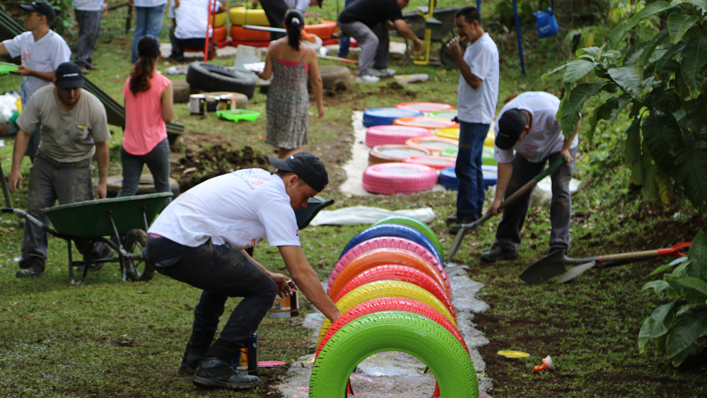 Bridgestone Team Builds Park with Recycled Tires