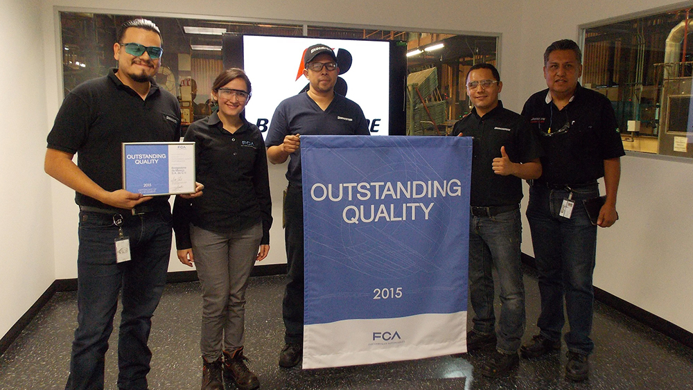Brigestone'S Manufacturing Facility In Cuernavaca Receives 'Outstanding Quality Award' By Fiat Chrysler
