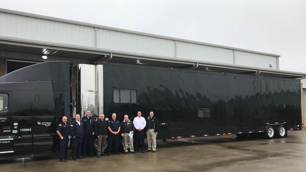 Bridgestone Americas employees with Emergency Response Trailer donated to Murfreesboro Fire Rescue Department