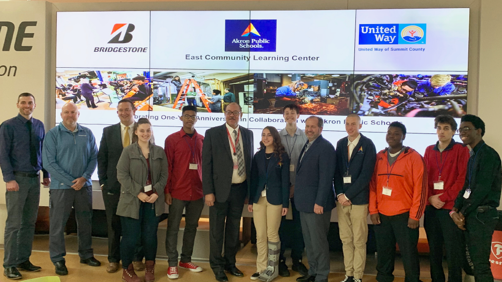 Bridgestone Americas akron americas technical center celebrates 1 year of partnership with east community learning center Akron public schools