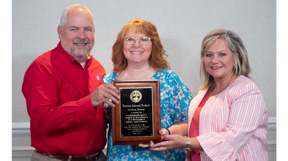 Firestone Industrial Products receiving award for safety in dyersburg tennessee
