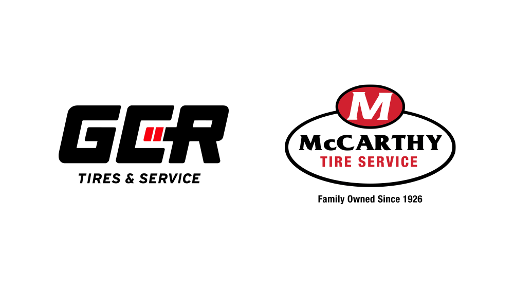 GCR tires and service logo with McCarthy tire service logo