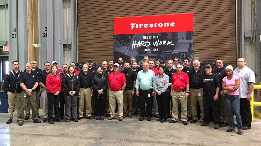 Bridgestone americas bloomington teammates accepting safety award