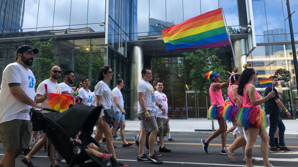 Bridgestone teammates in Nashville walking in the PRIDE parade