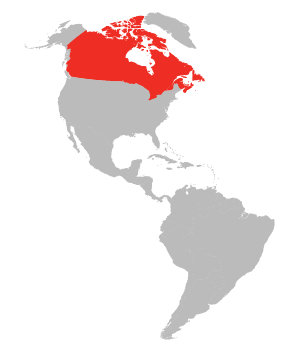 Map with United States and Canada Highlighted